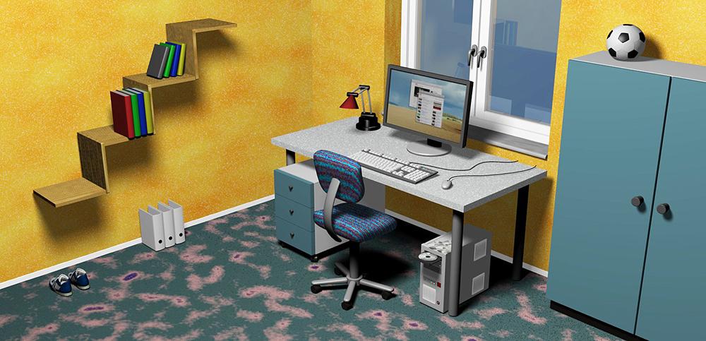 3D-Illustration eines Zimmers mit Einrichtung
