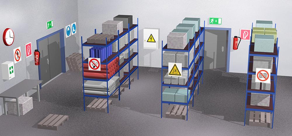 Illustration eines Lagerraumes mit Regalen