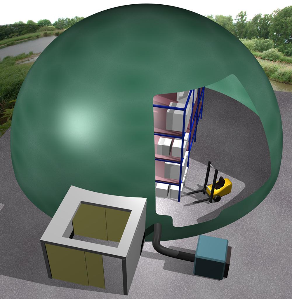 3D-Illustration eines aufblasbaren Lagers