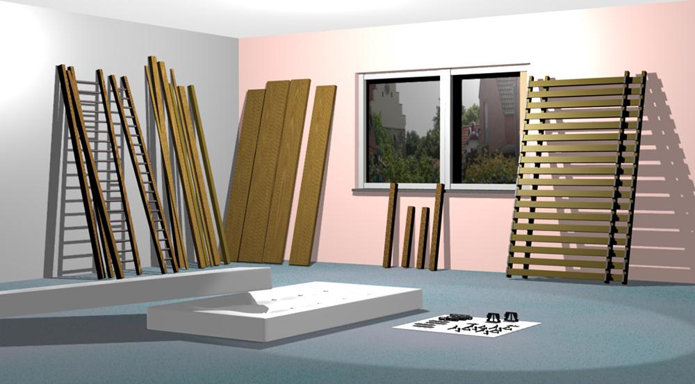 Bestandteile zur Montage einer Holzkonstruktion