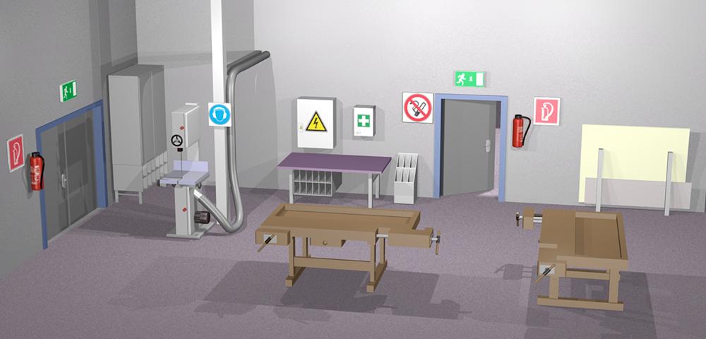 Werkhalle als 3D-Visualisierung